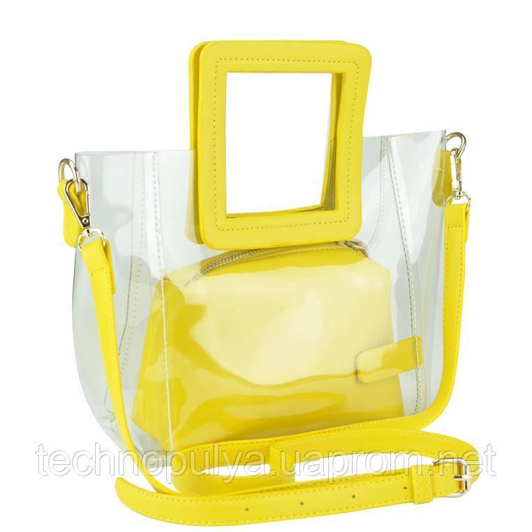 Сумочка-джелли на плечо прозрачная желтая Mona W04-8992Y