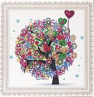 """Алмазная мозаика спец. стразами на подрамнике """"Дерево любви"""" 30*30 см."""