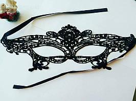 Ажурна жіноча маска на очі чорна мереживна 01