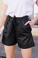Шорты женские стильные трендовые из эко кожи со съемным поясом и карманами Bma116
