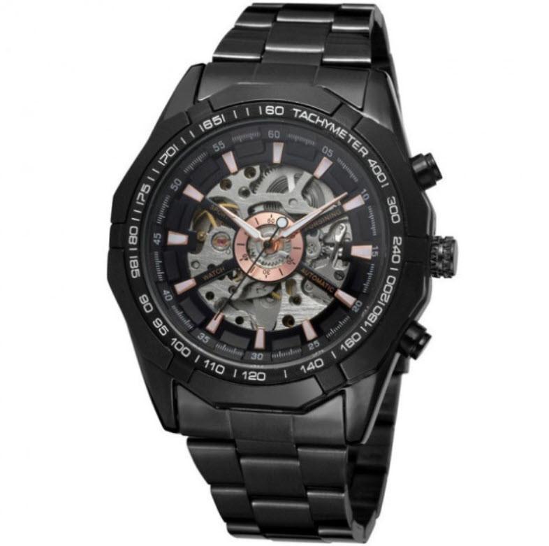 Стильные элитные механические часы Winner timi Skeleton Золотистые, металл