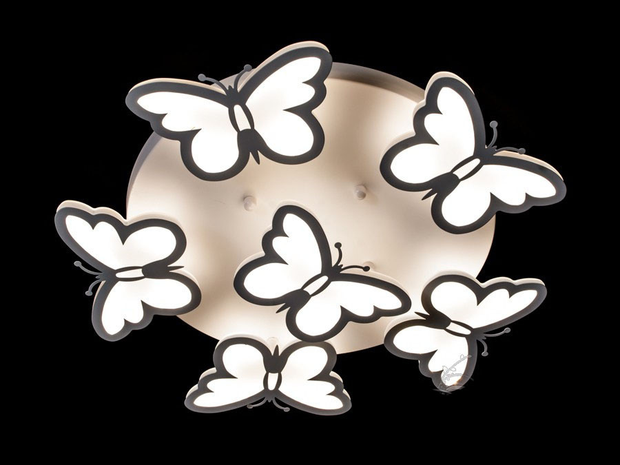 Люстра бабочка светодиодная потолочная в белом цвете для детской 95Ват фирма Diasha&8067/5+1WH