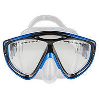 Маска для плавания детская Dolvor Junior Поликарбонат Обтюратор силикон Закаленное стекло Сине-черный (М286SJ)