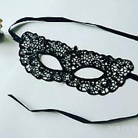 Ажурна жіноча маска на очі чорна мереживна 03