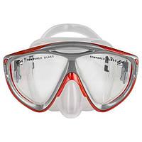 Маска для плавания детская Dolvor Junior Поликарбонат Обтюратор силикон Закаленное стекло Красно-серый(М286SJ)