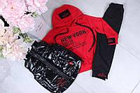 Спортивный костюм-тройка детский #42126. Размеры 98-128 лет. Красный. Оптом