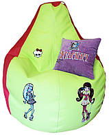 Бескаркасное кресло-груша Монстер Хай мешок с вышивкой