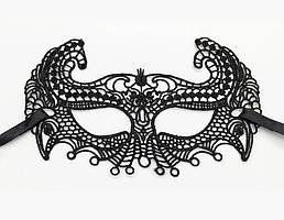 Ажурна жіноча маска на очі чорна мереживна 19