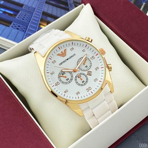 Наручные часы Emporio Armani Silicone 068 Gold-White