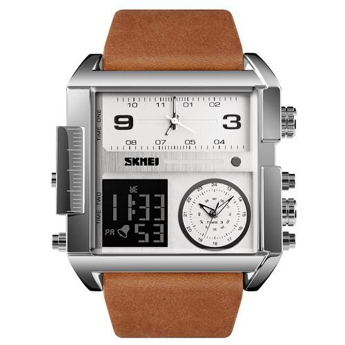 Оригинальные наручные часы Skmei 1391 Sliver White Brown Wristband | Оригинал Скмей, Гарантия 1 год!