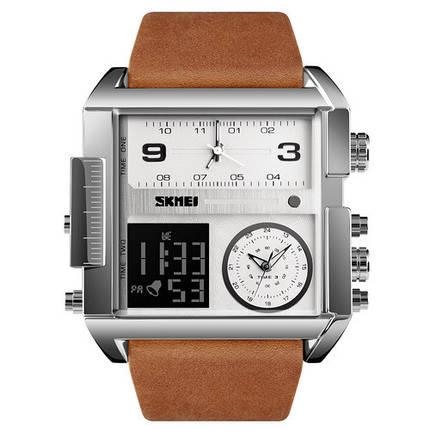 Оригинальные наручные часы Skmei 1391 Sliver White Brown Wristband | Оригинал Скмей, Гарантия 1 год!, фото 2