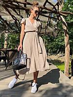 Платье миди женское красивое из штапеля в горошек на запахразные цвета Smld4490