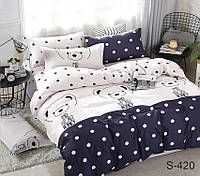 Двуспальный комплект постельного белья из сатина в горошек