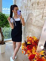 Сарафан джинсовый стильный, женский, цвет чёрный,  в комплекте с футболкой, 211-1916-2