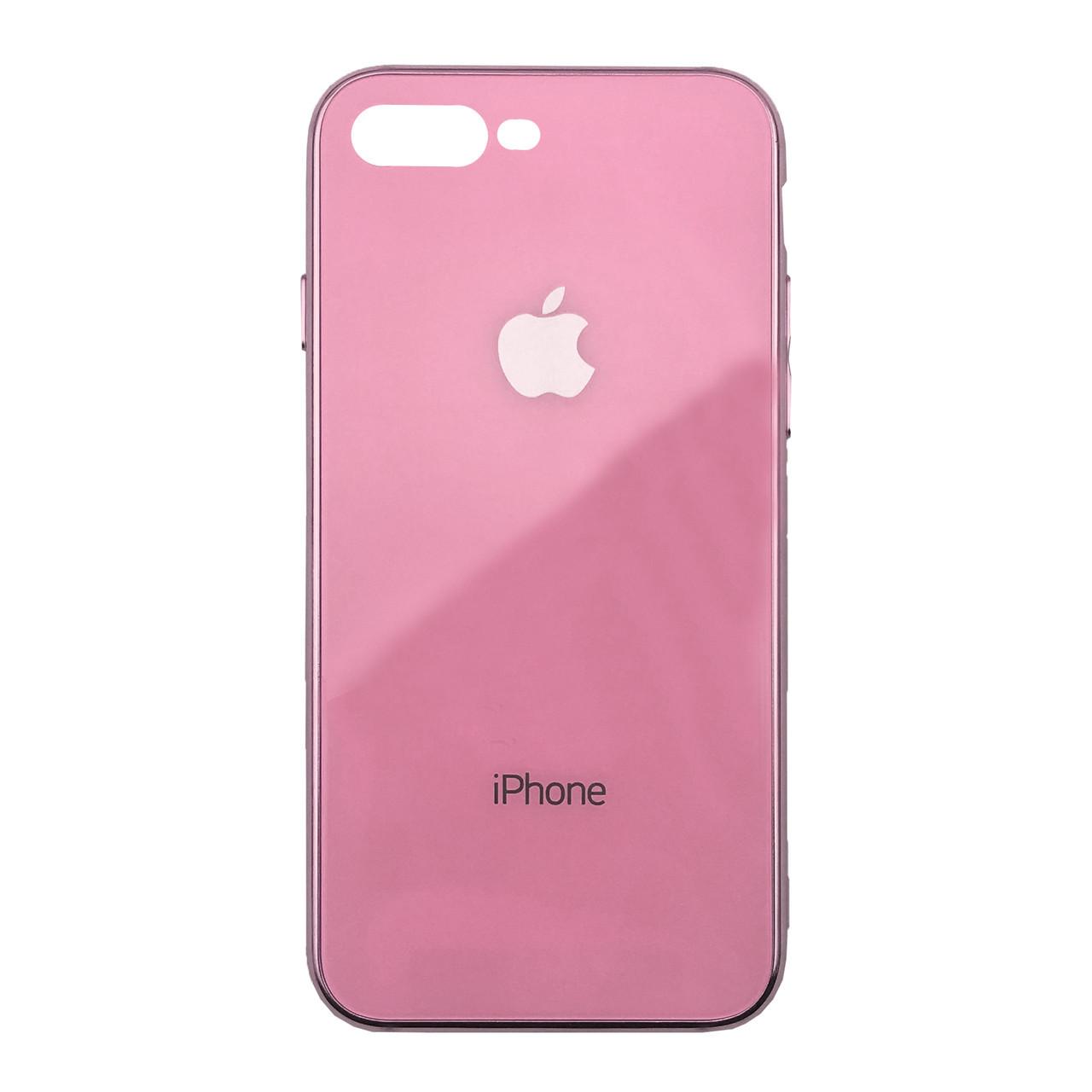 Чехол для iPhone 7 Plus/8 Plus Glass Case Logo Metallic pink