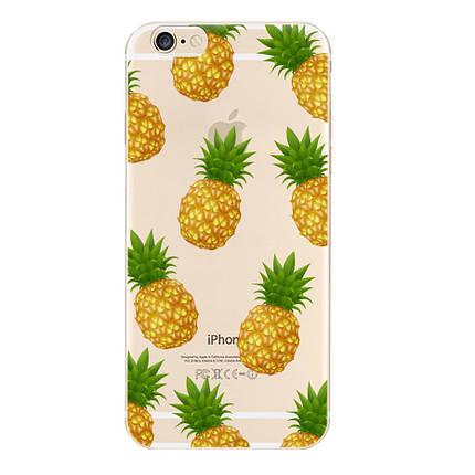 Чехол для iPhone 7 Plus/8 Plus прозрачный с ананасами, фото 2