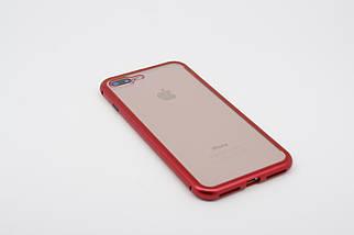 Магнитный чехол для iphone 8 plus/ 7plus красный /  Чехол противоударный магнитный на айфон