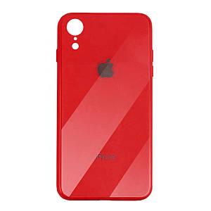 Чехол для iPhone XR Glass Case Logo red