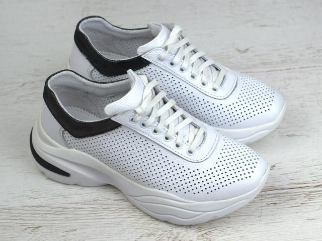 Кроссовки кожаные летние белые перфорация женская обувь больших размеров Rosso Avangard Mozza White&BlackPerf