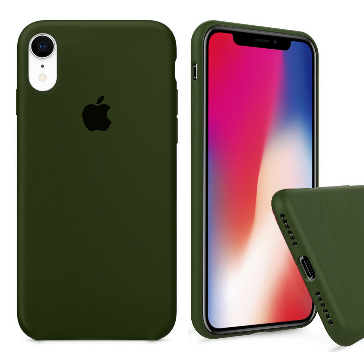 Чехол накладка xCase для iPhone XR Silicone Case Full olive