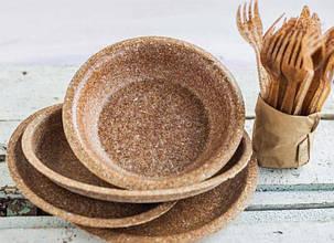 Одноразовая посуда из отрубей - Эко-тарелка глубокая (миска 500 мл) Biotrem, 20 см 100 шт