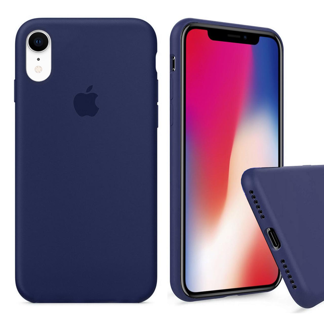 Чехол накладка xCase для iPhone XR Silicone Case Full темно синий