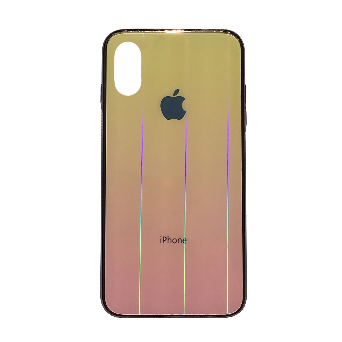 Чехол накладка xCase на iPhone XR Glass Shine Case Logo yellow