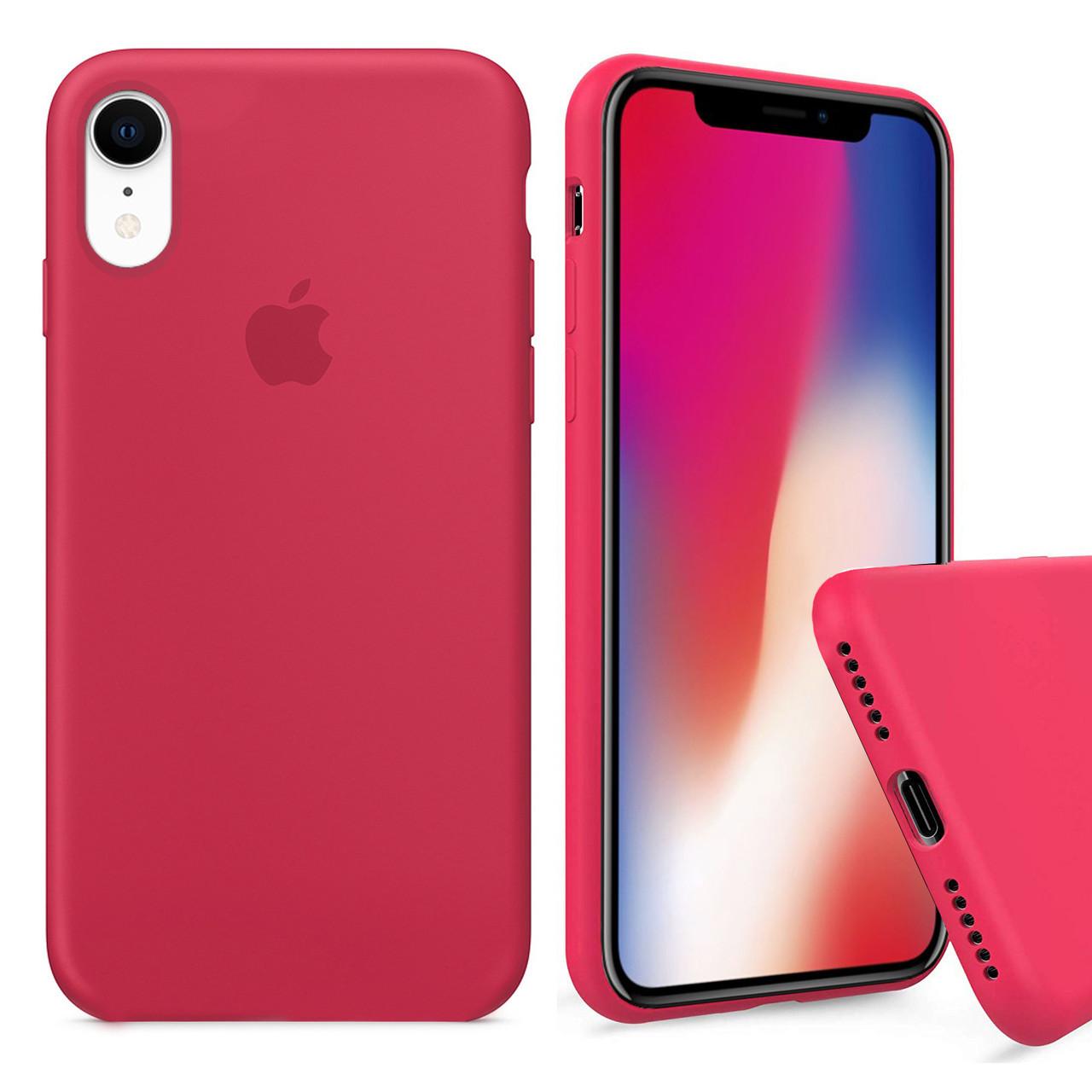 Чехол накладка xCase для iPhone XR Silicone Case Full светло малиновый