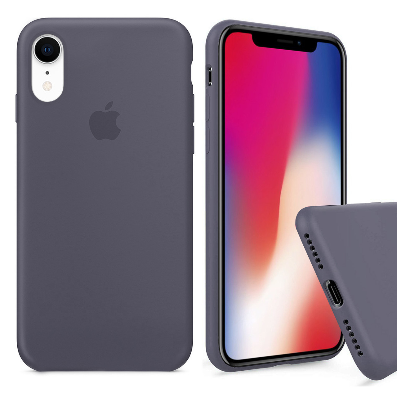 Чехол накладка xCase для iPhone XR Silicone Case Full lavender gray