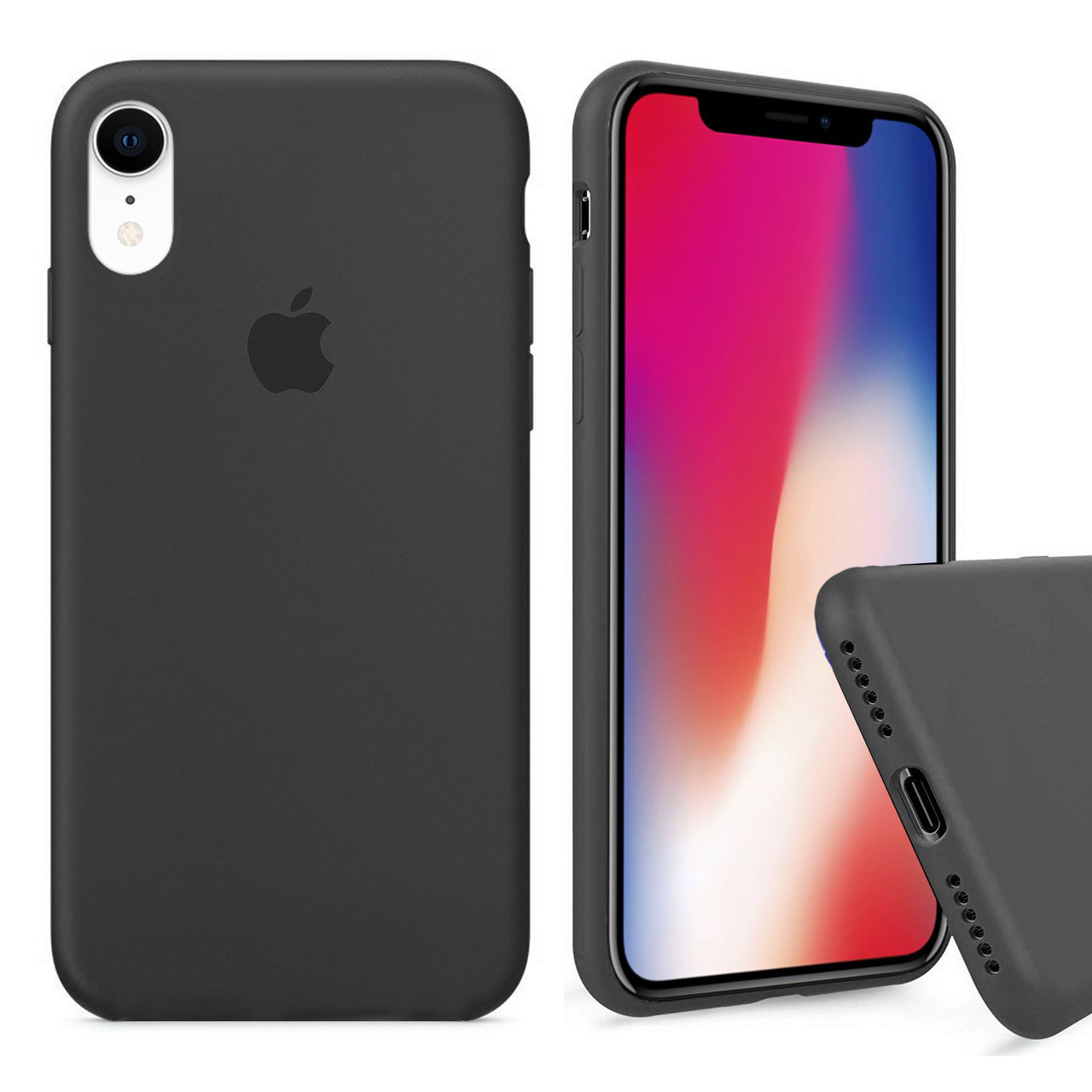 Чехол накладка xCase для iPhone XR Silicone Case Full темно серый