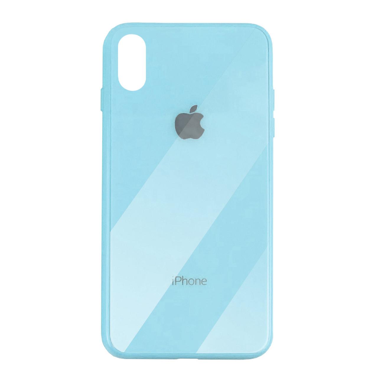 Чехол для iPhone XS Max Glass Case Logo sky blue