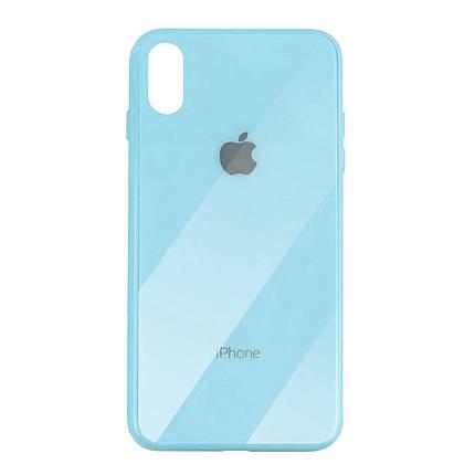 Чехол для iPhone XS Max Glass Case Logo sky blue, фото 2