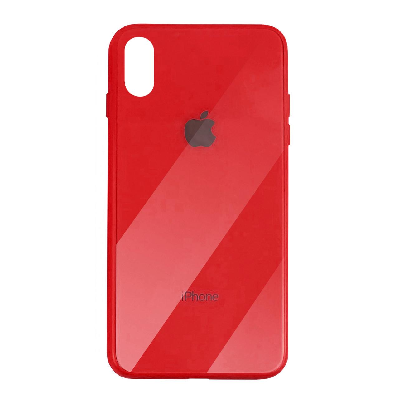 Чехол для iPhone XS Max Glass Case Logo red