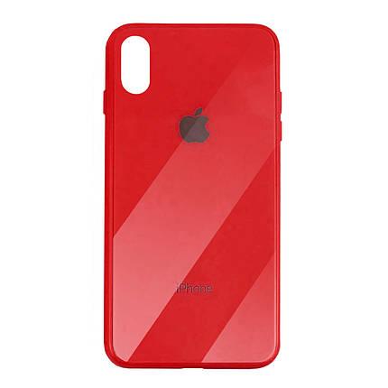 Чехол для iPhone XS Max Glass Case Logo red, фото 2