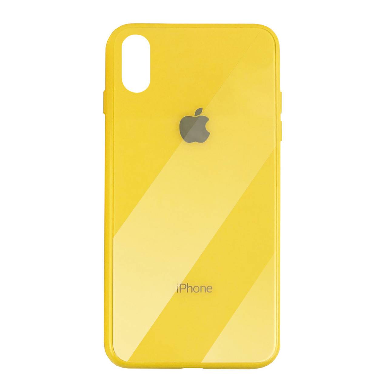 Чехол для iPhone XS Max Glass Case Logo yellow