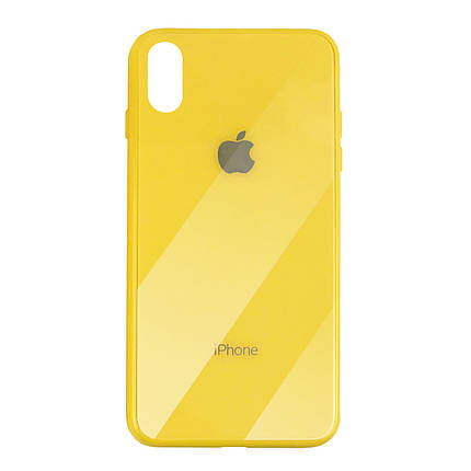 Чехол для iPhone XS Max Glass Case Logo yellow, фото 2