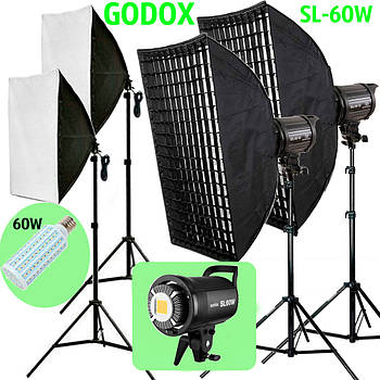 1,2kW Комплект Godox LED  профессионального постоянного видеосвета LED SL60WG-572 KIT