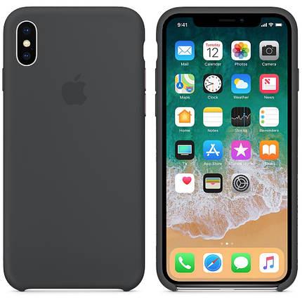 Чехол накладка xCase для iPhone XS Max Silicone Case темно-серый, фото 2