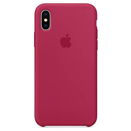Чехол накладка xCase для iPhone XS Max Silicone Case Rose red, фото 2
