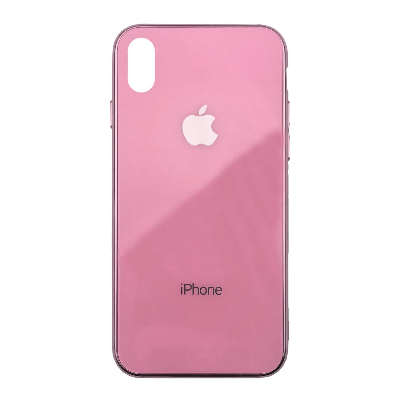 Чехол для iPhone XS Max Glass Case Logo Metallic pink