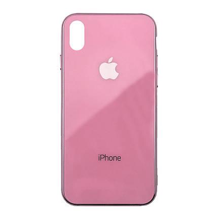 Чехол для iPhone XS Max Glass Case Logo Metallic pink, фото 2