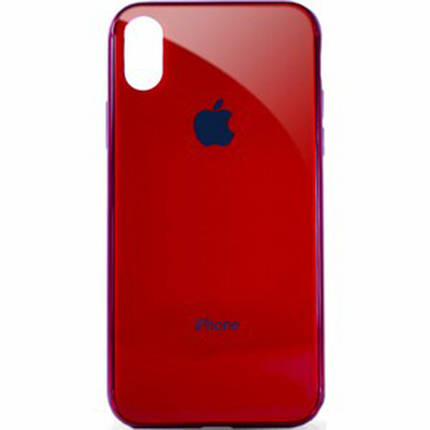 Чехол для iPhone XS Max Glass Case Logo Metallic red, фото 2