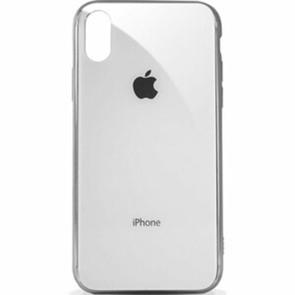 Чехол для iPhone XS Max Glass Case Logo Metallic white