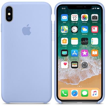 Чехол накладка xCase для iPhone XS Max Silicone Case светло-голубой, фото 2