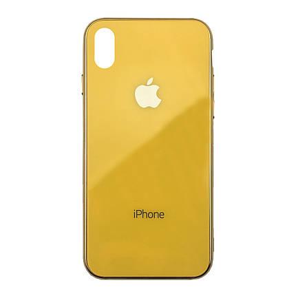 Чехол для iPhone XS Max Glass Case Logo Metallic yellow, фото 2