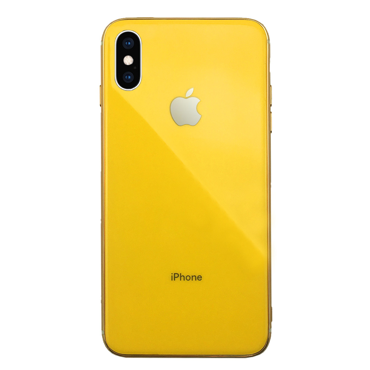 Чехол для iPhone XS Max Glass Silicone Case Logo yellow