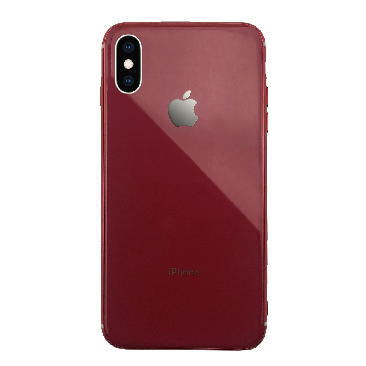 Чехол для iPhone XS Max Glass Silicone Case Logo red