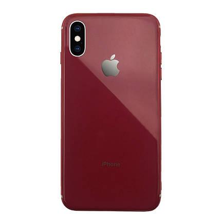 Чехол для iPhone XS Max Glass Silicone Case Logo red, фото 2