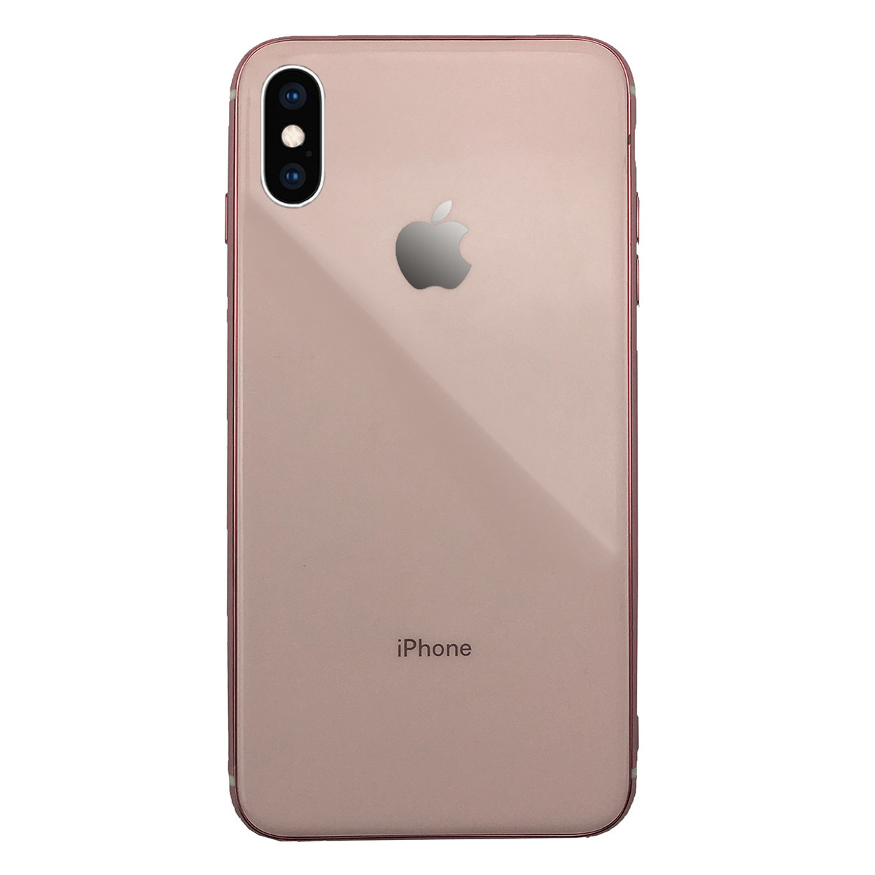 Чехол для iPhone XS Max Glass Silicone Case Logo rose gold