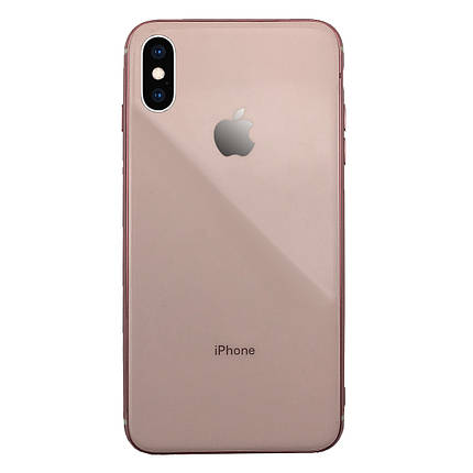 Чехол для iPhone XS Max Glass Silicone Case Logo rose gold, фото 2